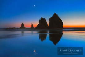 Coast landscape with bizarre rocks and moon - North America, USA, Oregon, Curry, Samuel H. Boardman Scenic Corridor, China Be...