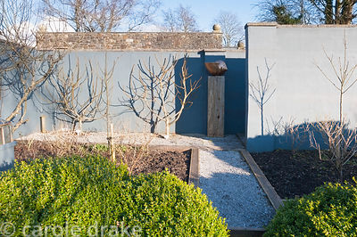 Grey painted walls surrounding a formal kitchen garden with fan trained fig trees, gravel paths and beds edged with railway s...