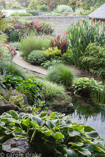 Lush foliage planting viewed from above includes hostas, grasses such as pennisetum, cannas and ricinus, the castor oil plant...