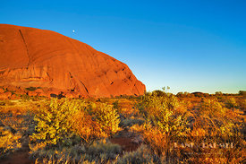 Ayers Rock and moon - Australia, Australia, Northern Territories, Uluru-Kata-Tjuta National Park, Ayers Rock (Red Center, Out...