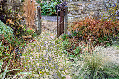 Tactile stone path curves between beds of grasses and other bold foliage plants including an acer, hebe and striped phormium