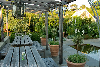 Timber pergola in the pond garden shades a dining area, beside standard olives in terracotta pots underplanted with Orignanum...