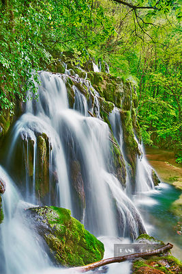 Waterfall Cascade des Tufs in beech forest - Europe, France, Bourgogne-Franche-Comte, Jura, Lons-le-Saunier, Arbois, Les Plan...