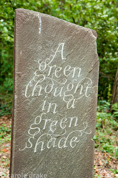 Inscribed stone forms a focal point for the woodland path, letter cutter Catriona Cartwright. Rhodds Farm, Kington, Herefords...