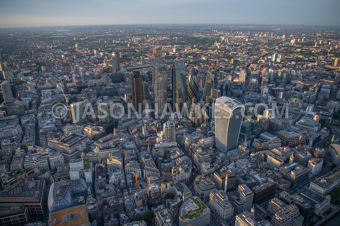 Aerial view of the City of London, London