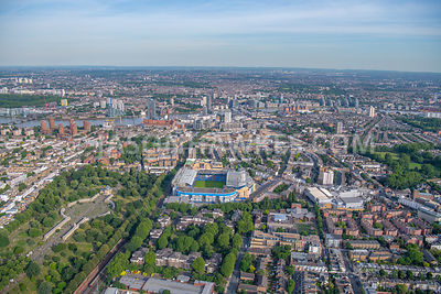 Aerial view of Stamford Bridge, Chealsea and Fulham, London.