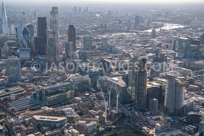 Aerial view of 16 Commercial St, Broadgate Tower, City of London, Liverpool Street Railway & Underground Station, London E1 6...