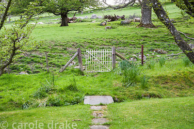 Gate leading from the garden into surrounding countryside.