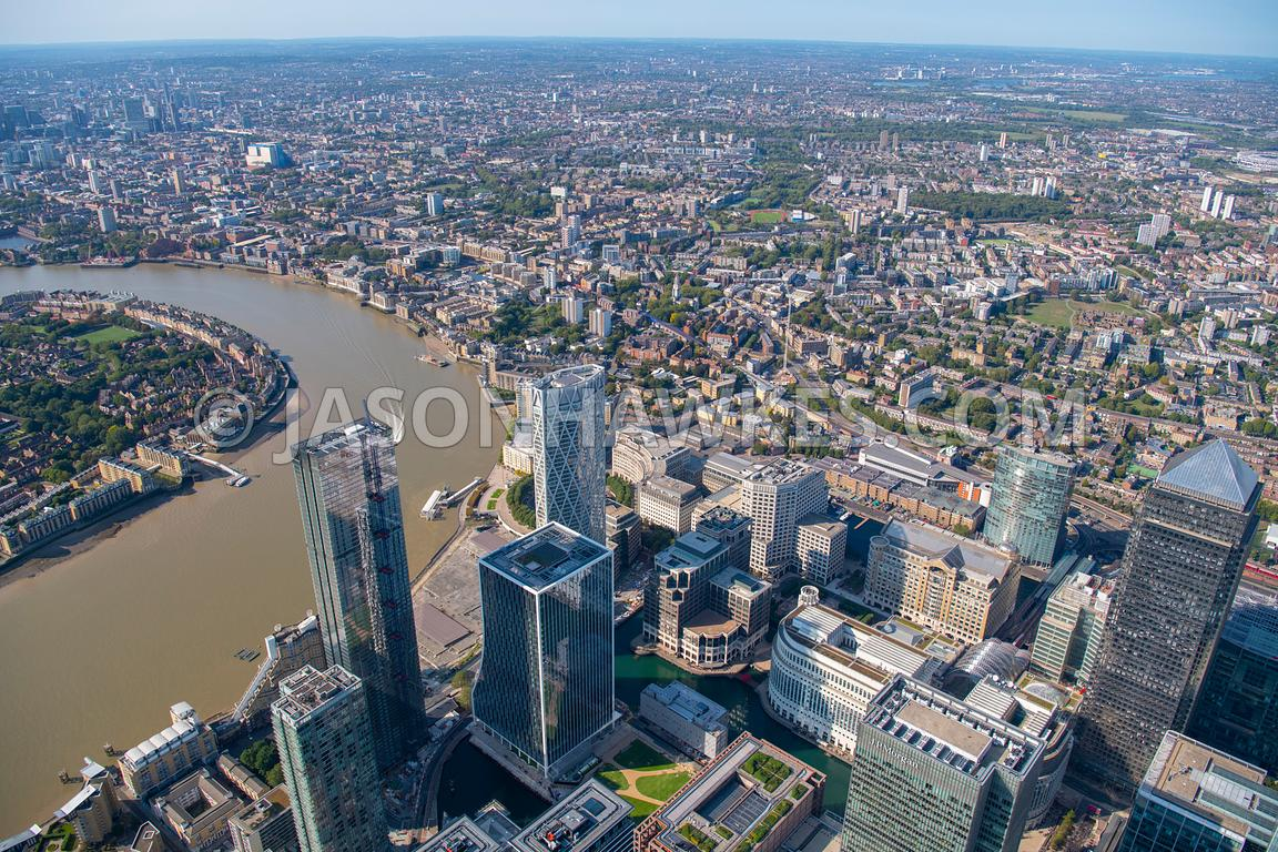 Aerial view over Limehouse and Canary Wharf, London.