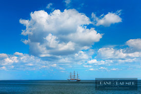 Ocean impression with sailing ship - Europe, Germany, Schleswig-Holstein, North Frisia, Sylt, List (Schleswig-Holstein Wadden...