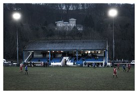 The main stand at Albert Park, home to Hawick Royal Albert FC