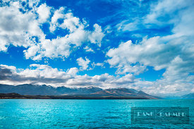Lake landscape at Lake Pukaki - Oceania, New Zealand, South Island, Canterbury, Mackenzie, Lake Pukaki, south end (Polynesia,...