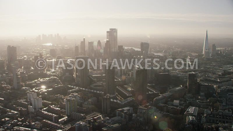 Aerial footage of the Barbican and City of London.