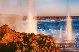 Cliff landscape with blowhole at Point Quobba - Australia, Australia, Western Australia, Gascoyne, Point Quobba - digital