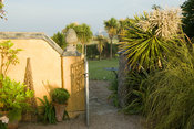From the courtyard garden the gateway into the rest of the garden frames a view of St Michael's Mount. Plants include tall co...