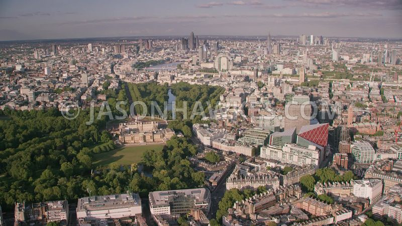 Aerial ( helicopter ) footage of Buckingham Palace, Victoria, The Mall , Pall Mall, St. James's,  London.