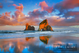 Beach impression Archway Islands - Oceania, New Zealand, South Island, Tasman, Golden Bay, Puponga, Wharariki Beach, Archway ...