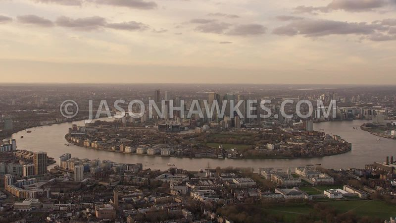 Aerial footage of Greenwich, National Maritime Museum, isle of Dogs, Docklands, University of Greenwich, London.