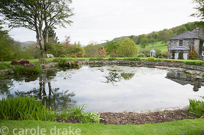 Circular pond near the house framed by mature trees and moisture loving plants.