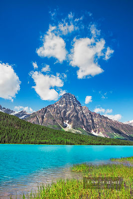 Mountain impression at Waterfowl Lake - North America, Canada, Alberta, Banff National Park, Waterfowl Lake (Rocky Mountains)...