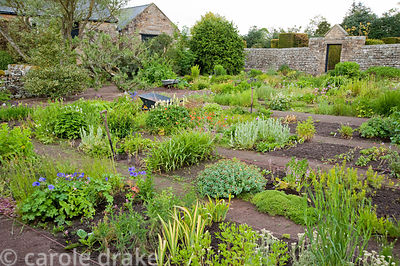 The nursery garden with stock beds from where plants are lifted for sale each day. Herterton House, Hartington, Northumberlan...