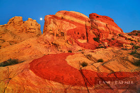 Erosion landscape and moon in Valley of Fire - North America, USA, Nevada, Clark, Valley Of Fire, Rainbow Vista (Valley Of Fi...