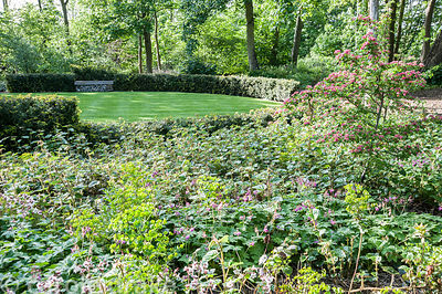 A circular lawn forms a performance/picnic space surrounded by yew hedging and benches created using gabions