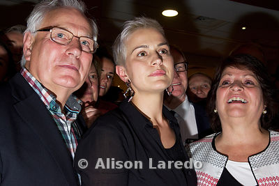 Maria Walsh with her parents Vincent and Noreen waiting for the announcement confirmingt Maria's election to the European Par...