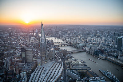 Aerial view of London Bridge and the Shard, London.