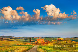 Farm house in Tuscany - Europe, Italy, Tuscany, Siena, Val d'Orcia, Pienza, south of - digital - Getty image 89983475