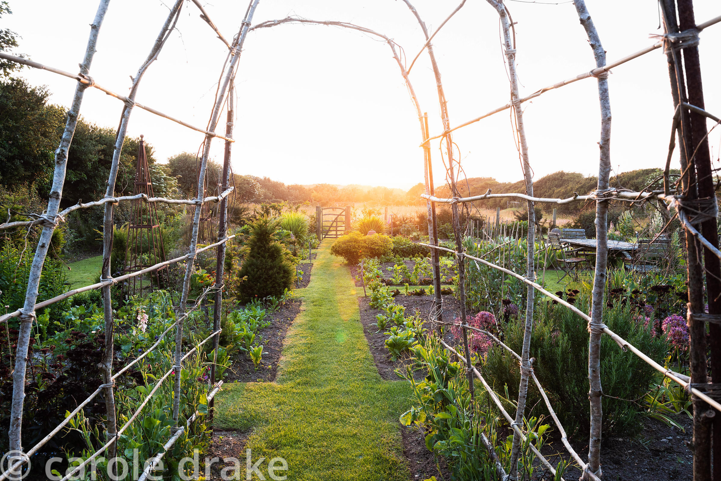 Grass path through the vegetable garden framed by a simple hazel archway which will be covered with sweet peas later in the s...