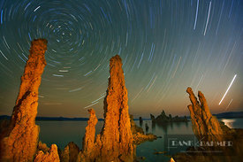 Tufa formations and star trails at Mono Lake - North America, USA, California, Mono, Mono Lake, South Tufa State Reserve (Sie...