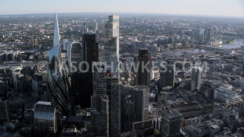 Aerial footage of the City cluster, City of London.