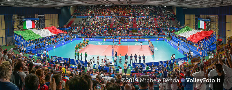 "The ""PalaFlorio"" sports hall, while playing the Italian anthem"