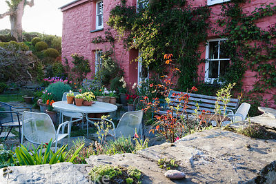Busy front garden with a seating area and lots of pots of tulips.