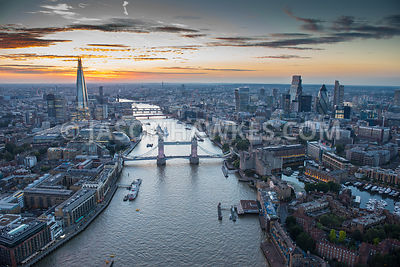 Tower Bridge and the River Thames at dusk
