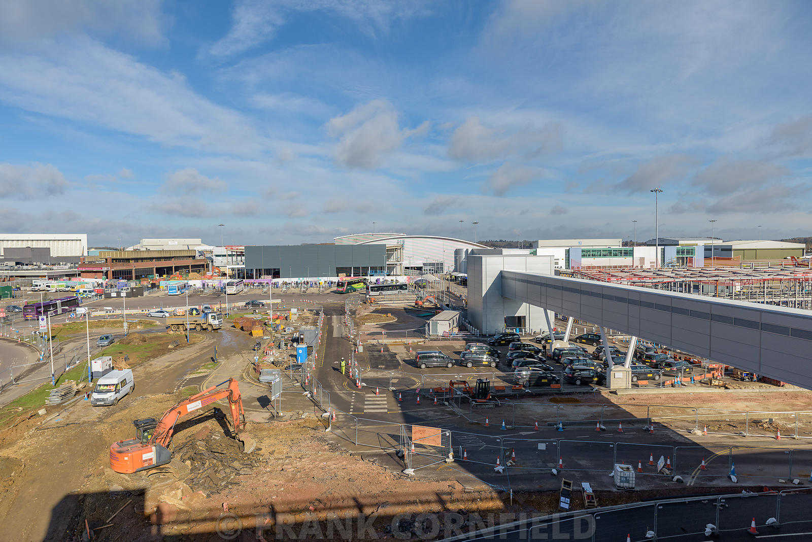 LUTON, ENGLAND - FEBRUARY 28, 2017: Major work at a construction site close to runway and taxi areas at Luton airport.
