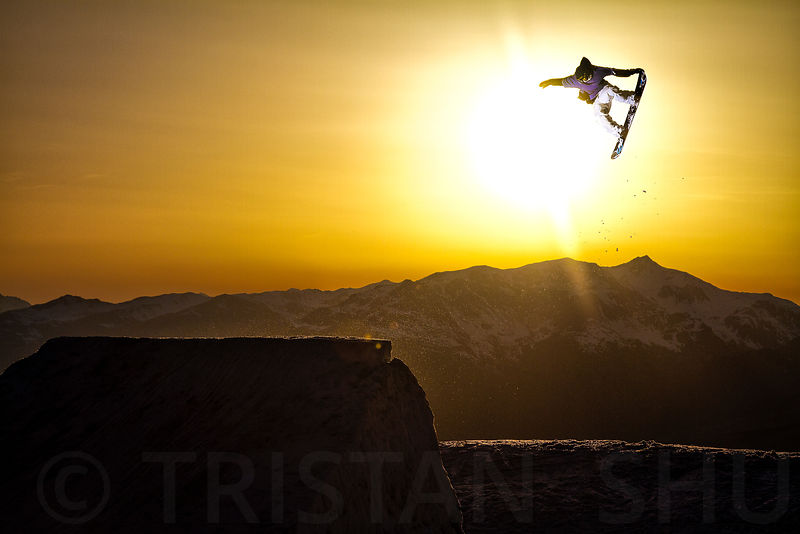 Tail Grab at Sunset with Thomas Chassagne