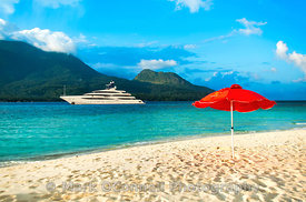 Superyacht Cloud 9 near a beach