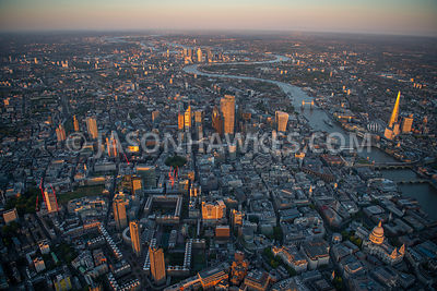 Aerial view of the Barbican and City of London taken from a helicopter at 2500ft, London.
