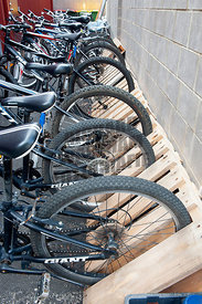 Pemberton Western Australia WA Australia. Cycling / upcycling / recycling. At the General Store bicycle hire wooden pallets h...