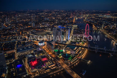 Night aerial view of SouthBank and the River Thames, London.