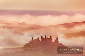 Tuscany landscape in mist - Europe, Italy, Tuscany, Siena, Val d'Orcia, San Quirico d'Orcia - digital