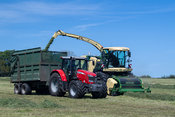 Picking up grass for silage with a Krone self propelled forager, Lancaster, Lancashire, UK.
