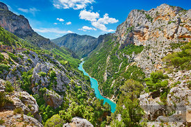Canyon landscape Grand Canyon du Verdon - Europe, France, Provence-Alpes-Cote d'Azur, Alpes de Haute Provence, Digne-les-Bain...