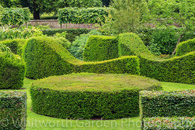 Clipped topiary Yew hedges - Taxus baccata - in The Sepentine Garden at Scampston Hall Walled Garden, North Yorkshire, design...