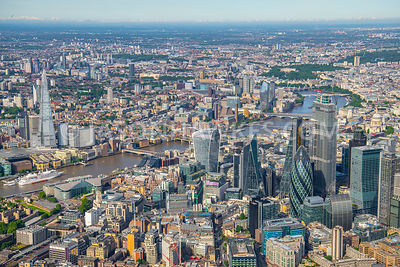 1800 ft over the City of London looking West to Westminster, London.
