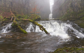 Mist cover river and waterfall of Catrigg Force at Stainforth Be