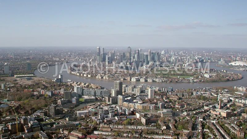 Aerial footage of Greenwich, Deptford, River Thames and Isle of Dogs, London.