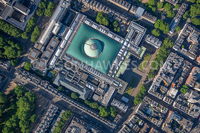 The British Museum, London, aerial view.